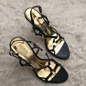Guess Black and Gold Strappy Sandals